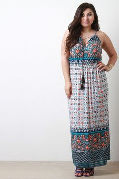 Patterned Print Cinched Waist Sleeveless Maxi Dress – Label of CC Junior Maxi Dresses, Boutique Maxi Dresses, Plus Size Long Dresses, Plus Size Summer Outfit, Plus Size Fall Fashion, Tabu, Curvy Girl Fashion, Plus Size Womens Clothing, Vintage Dresses