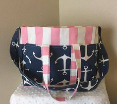 Anchor and Pink Stripe Diaper Bag/Large by SewSweetBabyDesigns