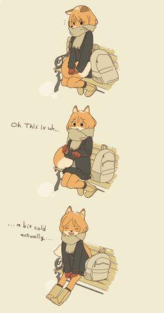 Fox school girl trying to wear a short skirt in winter.