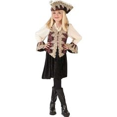 Our kid's royal pirate girl dress has a classy look on a classic Halloween…