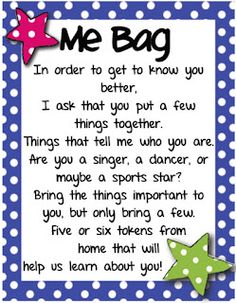 "Mrs. Heeren's Happenings: ""Me Bags"" - First Day of School, I always did this but never had a note to go with it,this is handy, I used a brown bag, or pillowcase."