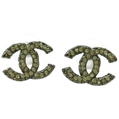 Pre-owned  Chanel Gunmetal Cloudy Cc Rhinestone Large Piercing... ($330) ❤ liked on Polyvore featuring jewelry, earrings, accessories, gunmetal, preowned jewelry, rhinestone earrings, rhinestone jewelry, chanel jewelry and rhinestone stud earrings