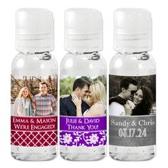 Now here's a photo opportunity - Create the picture perfect favor with our Photo Hand Sanitizer! They're sure to add a special, personalized touch to any big day! Feature a photo of the bride and groom, birthday boy or girl, or the brand new baby. These travel sized bottles are perfect for wedding receptions, guest hotel bags, bridal and baby showers, anniversaries or any special celebration. Wipe away unwanted germs while keeping hands soft with aloe enriched hand sanitizer favors. Travel Size Products, New Baby Products, Travel Size Bottles, Personalized Party Favors, Wipe Away, Hand Sanitizer, Boy Birthday, Big Day, Your Photos