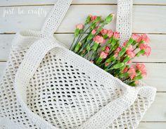 Crochet Farmer's Market Bag Pattern - Free Pattern by Just Be Crafty Bag Crochet, Crochet Market Bag, Cute Crochet, Crochet Baby, Bag Pattern Free, Crochet Flower Patterns, Crochet Ideas, Tote Bag, Crochet Projects