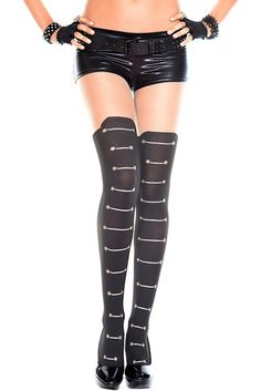 #MusicLegs #StaySexy www.fifty-6.com ml7288 -BLACK/BEIGE Lace up design spandex  #pantyhose