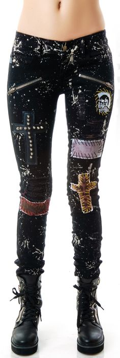 Tripp NYC Patches n' Paint Splattered Jeans   Dolls Kill