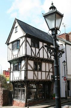 """wasbella102: """" Exeter, West Gate, The House that Moved Photo by Tollhouse Alan """" The House that Moved, Exeter, Devon, England. This 14th…"""