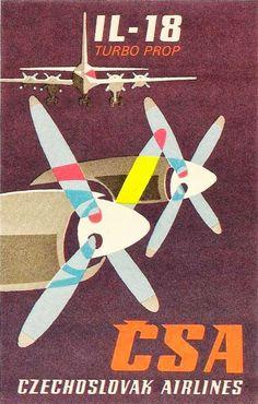 First Class Travel CSA Czechoslovak Airlines Poster Design