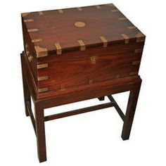 British Campaign Rosewood Officer's Chest on Stand, Early 1900s