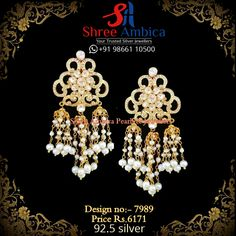 Exquisite Polki Jhumkas with pearls in 92.5 silver base from Shree Ambica - Your Trusted Jewellers Readily available in stock Call/WhatsApp - +91986611050 Silver Jewellery, Base, Jewels, Bracelets, Modern, Earrings, Design, Ear Rings, Trendy Tree