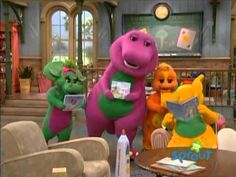 Barney & Friends Fun With Reading Barney The Dinosaurs, Barney & Friends, The Wiggles, Kara, Nostalgia, Childhood, Backyard, Make It Yourself, Reading
