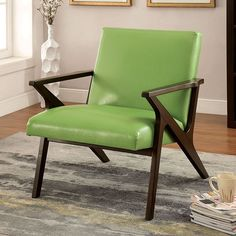 Margaux Apple Green Accent Chair - CM-AC6265AG Description : Refresh your home with a modern piece, and even some color! The wood framework is stylized to create a modern appeal while faux leather uph
