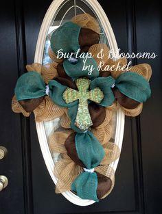Burlap mesh cross wreath by BurlapAndBlossomsbyR on Etsy