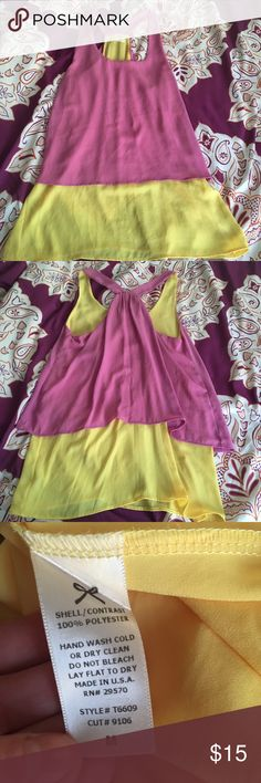 Everly boutique purple and yellow layered tank Purple chiffon over yellow chiffon layered tank. Excellent condition. Everly Tops Tank Tops