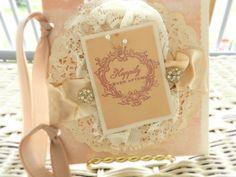 fairytale wedding card CUSTOM luxurious shabby card engagement card handmade card blush bridal romantic lace vintage