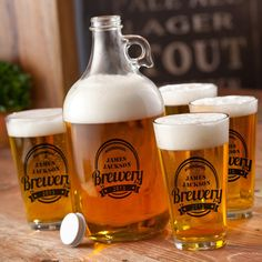 Give a gift that is personal and stylish with this personalized brewery label beer growler and glasses set. Customized with a bold, printed brewery design featuring a first and last name, the set includes one 64 oz. beer growler and four pint sized pub style glasses for a gift any beer lover will be sure to appreciate.
