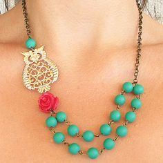 Gold Owl Necklace Owl Jewelry Green Necklace Woodland by zafirenia