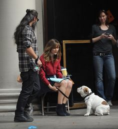 """Zac Efron goofs around with the guys, plus more stars having fun on set-Katherine McPhee played with a pooch during a break from shooting her show """"Scorpion"""" in downtown Los Angeles."""