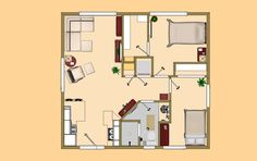 The floor plan view of the 624 sq ft Memory Lane. The only thing wrong is there's no space for a dining table.