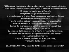 Sueño en casa de Osqueda, Gabriela Mistral