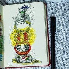 7/365: Hoje visitei a Liberdade e lembrei do meu lado japonês. ❇ . . #art #arte #painting #illustration #ilustração #artoftheday #desenho #dibujo #drawing #totoro #daruma #liberdade #japanese #japanculture #sketchbook #sketch #totem #ideograma #sushi #hashi