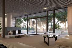 Case Study House Charles Eames and Eero Saarinen, designed in 1949 - rendered in 2015 Interior Rendering, Interior Architecture, Eero Saarinen, Outdoor Tables, Outdoor Decor, Charles & Ray Eames, Windows, Outdoor Furniture, Case Study