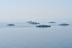 Ships from various countries are underway in formation during Sea Breeze 2014 in the Black Sea on Sept. 10. US Navy Photo