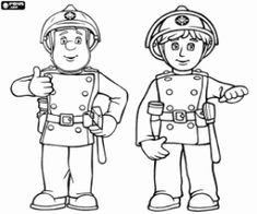 free printable color book pages santa fireman  | Fireman Sam coloring pages printable games