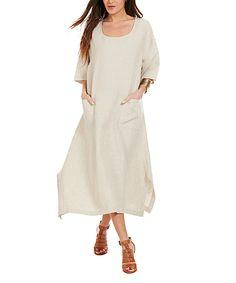 66c216a1fe Eva Tralala Sand Linen Midi Dress