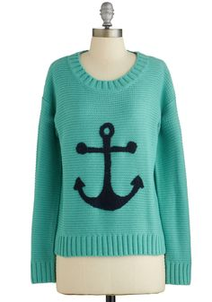 That's Moor Like It Sweater - Blue, Green, Novelty Print, Knitted, Nautical, Long Sleeve, Spring, Blue, Long Sleeve, Casual, Woven