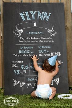 My First Birthday Photo Shoot - Chalkboard Milestones.    Print your own A1 designed Chalkboard poster and stick it onto any hardboard or plywood (paint the edges black first) - tadaah, your have yourself a faux chalkboard for your party and photoshoot.  Get your customised design for your special 1 year old here - https://www.etsy.com/nz/listing/182388089/chalkboard-design-first-birthday?ref=pr_shop