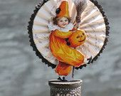 Vintage Halloween Victorian Inspired WITCH Jester Girl with Jack-o-lantern and Broom on a Spool with Rosette Steampunk