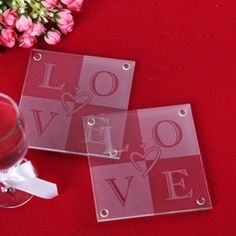 """Love"" Glass Coaster"