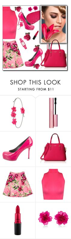 """""""Hot Pink"""" by gsmith123 ❤ liked on Polyvore featuring Lumene, Lanvin, Too Faced Cosmetics, Yves Saint Laurent, Kate Spade, Love Moschino, WearAll, MAC Cosmetics and Matthew&Melka"""