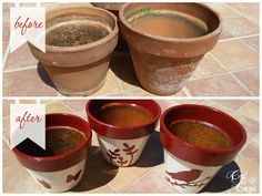 Handmade Spring: I vasi decorati Pot before and after #upcycle #tutorial #stencil