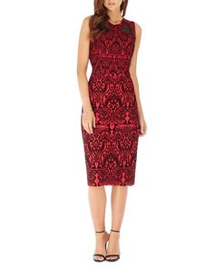 Printed+Mesh-Panel+Sleeveless+Scuba+Dress,+Black/Red+by+Label+by+5twelve+at+Neiman+Marcus+Last+Call.