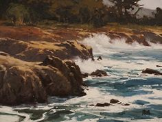 Surf at Pt Lobos by Brian Blood Oil ~ 12 x 16