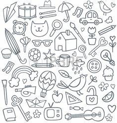 set van 50 doodles Stockfoto
