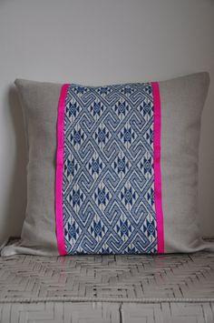 Large blue geometric pattern panel and by AnnabelSmithInterior