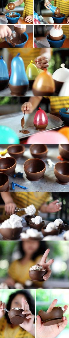 chocolate bowls! except i feel like the chocolate would taste like latex. gross. but a great idea!!