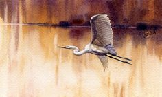 Sunset Over the Lagoon, Egret by Joe Garcia Watercolor ~ 4.25 x 7
