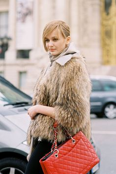 Fur coat + red bag #vintage