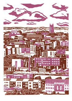 x 42 cm) poster-print entitled 'Sheffield City View printed in pink and brown, and also in dark grey and dark blue. Seventh in my series of Sheffield views. This is a view of the city centre looking from the Pitsmoor / Rutland Road par. Pink Brown, Brown And Grey, Linocut Prints, Poster Prints, Art Prints, Sheffield Art, Sheffield Steel, Yorkshire Day, Linoprint