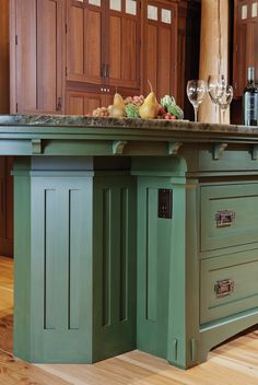 Arts & Crafts Designer Series island finished in Lexington Green Old Fashioned Milk Paint with a Van Dyke Glaze. Milk paint gives a nice old appearance. Mission Style Kitchens, Craftsman Style Kitchens, Mexican Style Kitchens, Bungalow Kitchen, Craftsman Interior, Kitchen Paint, Kitchen Redo, New Kitchen, Kitchen Remodel