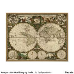 World map historical poster print 36 x 24 world print and antique 1660 world map by frederick de wit poster gumiabroncs Gallery