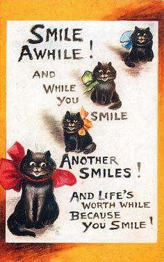 Louis Wain (English, 1860-1939). Smile awhile! Postcard, 1913.