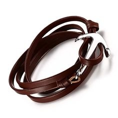 Vnox Mens Womens Stainless Steel Brown Genuine Leather Wristband Nautical Anchor Wrap Bracelet