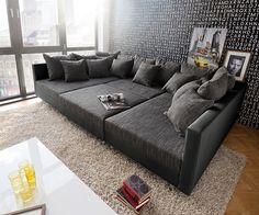 DELIFE Couch Clovis XXL Schwarz 300x185 Kissen Hocker Wohnlandschaft