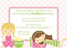 Slumber Party Invitation Sleepover Invite Birthday Party Girls Printable DIY