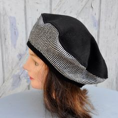 Béret ample mi-saison, lainage léger, chevrons noir et blanc - taille 57 ·  ChapeauxNoir ... db71e5a5e04